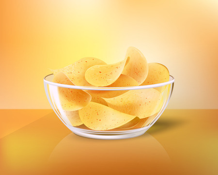 Crispy chips in glass bowl as snack to beer. Fast food meal made of fried slices of potato in heap inside dishware realistic 3D vector illustration.