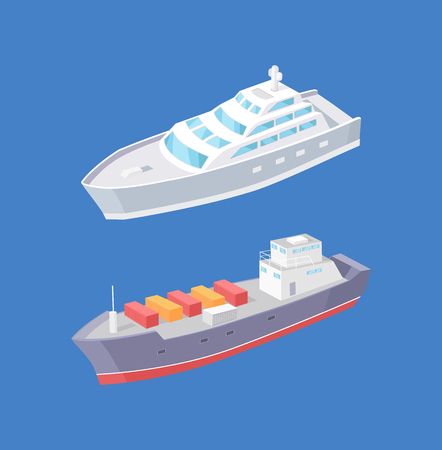 Cargo ship and passenger liner marine vessels vector icons isolated. Transportation boat full of containers export goods, shipping and delivering by water