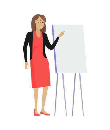 Smiling woman giving presentation using whiteboard on wooden stand, female filled with innovative ideas about theme, isolated on vector illustration