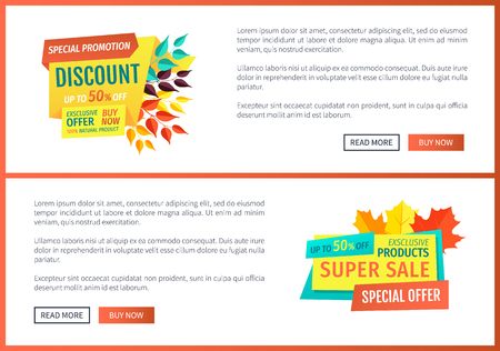 Special discount promotion set of posters with decorated banners. Autumn leaves and super autumnal sale. Best price promotion exclusive product vector 일러스트