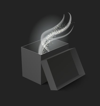 Package carton box with open cap isolated icon vector. Container with glowing coming out, shining and beaming in rectangular object for transportation Illustration