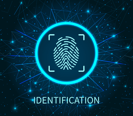 Identification poster illuminated digital data storage vector. Fingerprint and scanning system of prints recognition. Authentication method fingermark scan