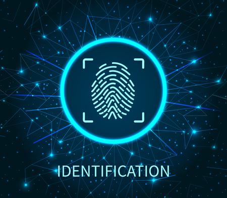 Identification poster illuminated digital data storage vector. Fingerprint and scanning system of prints recognition. Authentication method fingermark scan