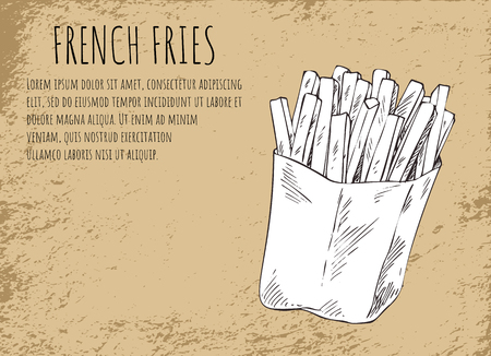 French fries fried potatoes in package poster with headline and monochrome sketch outline. American fatty and salty sticks meal vector illustration Illustration