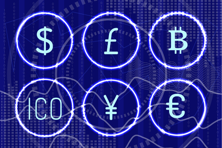 Bitcoin and digital virtual money icons set vector. Chinese yen, American Dollar and ico, European euro currency. Financial assets and financing sign