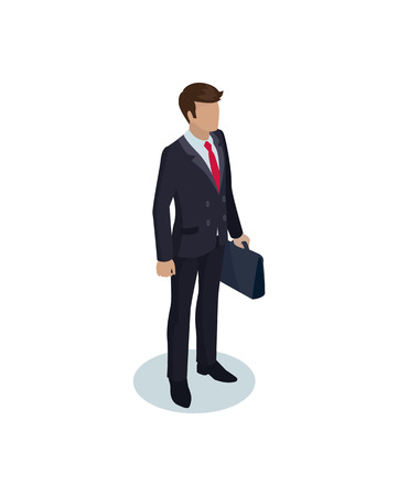 Businessman with briefcase suitcase in hands of person. Man wearing black suit wih red tie walking calmly. Confident male boss isolated on vector Vetores