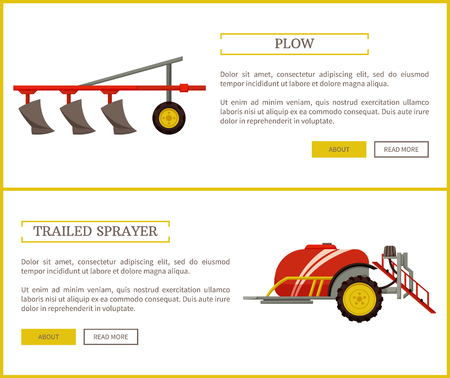 Plow and trailed sprayer, posters set with text sample and machinery for farming and land works. Device with reservoir for liquids, plough vector