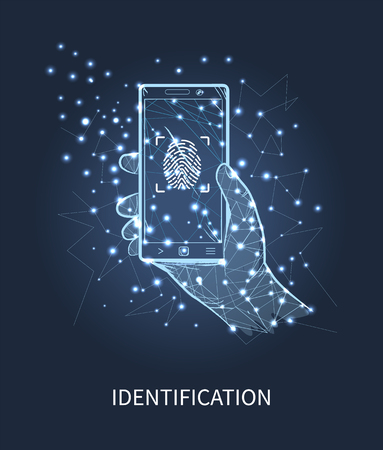 Identification mobile phone with print vector. Scanning system in smartphone, human man hand and gadget with authorization equipment and recognition