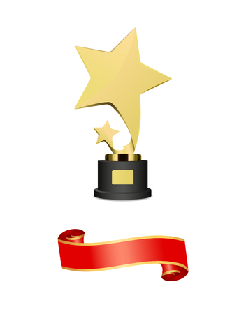 Peculiar trophy with shooting stars on wooden stand and curled ribbon or tape. Isolated vector award statuette for contest or competition winning. Illustration
