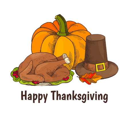 Happy Thanksgiving turkey and veggie poster with text vector. Hat with belt, meat on plate with cranberries berries and leaves. Pumpkin vegetable  イラスト・ベクター素材