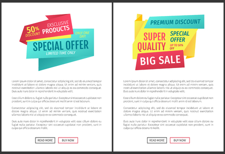 Special offer and big sale limited time only. Promotional discount posters with text sample set. Guarantee from shop to get price reduction vector