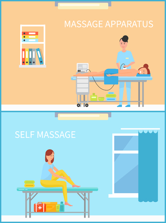 Massage apparatus and self treatment set of people relaxation and body pain relieving procedures set vector. Machinery for skincare of woman back Illustration