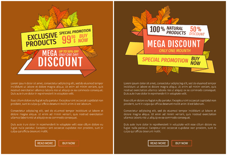 Advertisement posters with maple leaves. Autumn fall costs reduction web banner. Mega discounts on exclusive products special promotion 99.90 price buy now Illustration