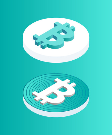 Blockchain set of coins isometric 3d icons. Digital money, cryptocurrency encrypted financial assets. Wealthy items of investors in currency vector