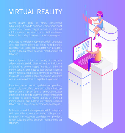 Virtual reality cartoon advertising banner card vector sample. Girl and boy sitting on column, playing video games in special glasses, 3d isometric