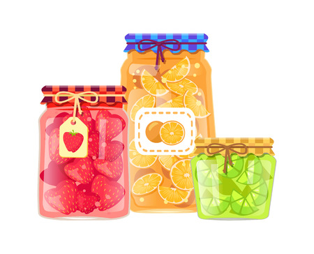 Labeled jars with canned oranges, limes and strawberries. Glass bottle citrus and berry conservation with sticker and rustic textile vector poster. Imagens - 127116061