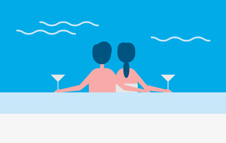 Couple in love sitting by poolside enjoying together and drinking alcoholic beverages. Romantic man and woman in swimming pool cuddling people vector