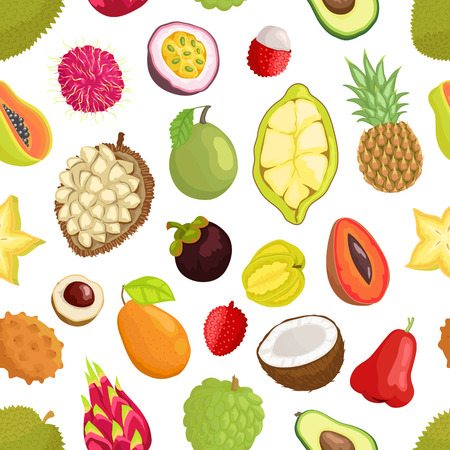 Seamless Pattern of Tropica Fruits Avocado and Cupuacu