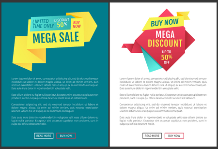 Special offer banners set, vector design icons. Mega sale and discount, limited time promotion, buy now, origami style online poster, double color Illustration