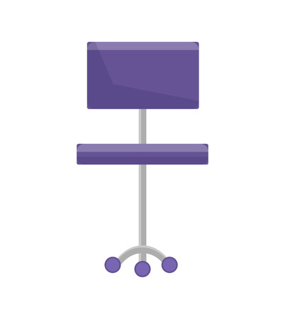 Purple office chair with wheels comfortable to sit on empty seat closeup adjustable stand for boss vector illustration isolated on white background