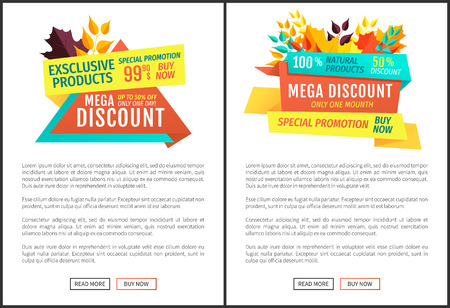 Mega discount exclusive natural product autumnal proposition. Super offer limited time only one month. Special promotion hot price posers set vector