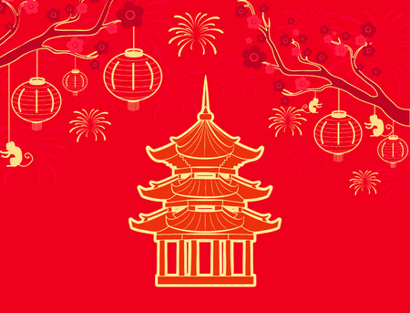 China and Chinese country signs symbols set vector. Tree branch with flourishing flowers and lanterns. Building and fireworks, architecture sakura