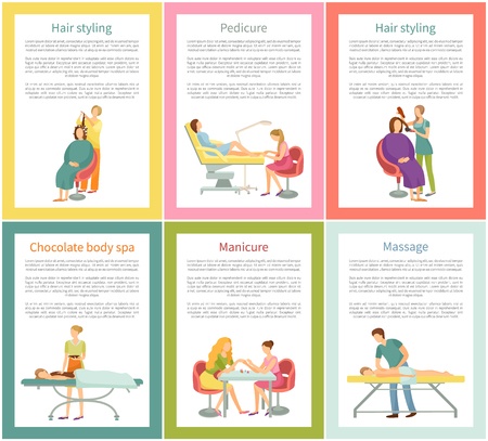 Hair styling and pedicure nails care posters set with text sample vector. Pedicurist and manicurist, chocolate body treatment, massage and masseur