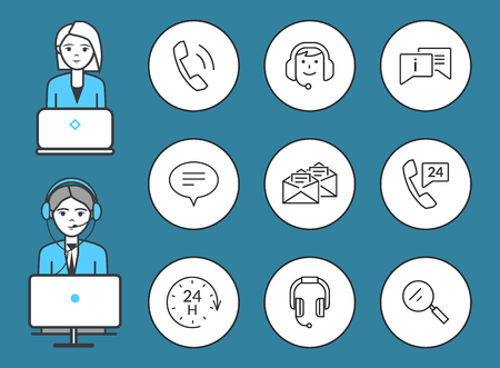 Support service male and female isolated icons set vector. Working man and woman wearing headphones, chatting and messages receiving, magnifying glass Illusztráció