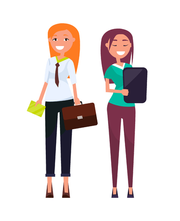 Consultants elegant business women pretty girls in formal wear discussing business issues vector executive managers isolated, professional employers Illustration