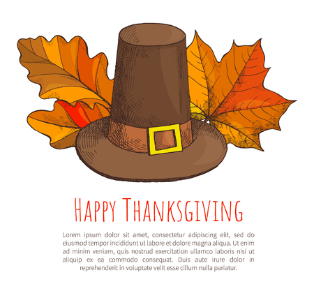 Happy Thanksgiving Poster with Text Sample Vector