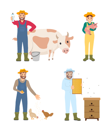 Farmer man and woman isolated icons set vector. Man with cow and produced organic drink, woman with piglet. Person feeding hens, beekeeper and bees Illustration