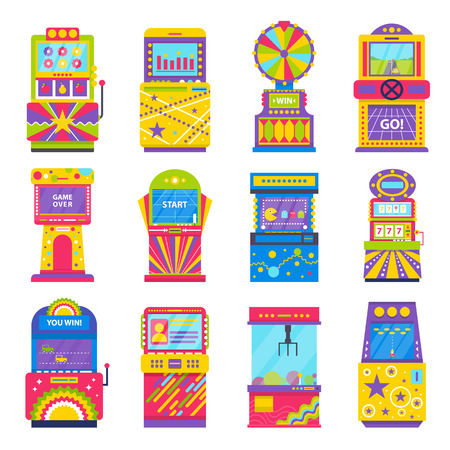 Game machines playing and gambling isolated icons set vector. Arcades and entertainment for people, screen with numbers and pictures, game over sign