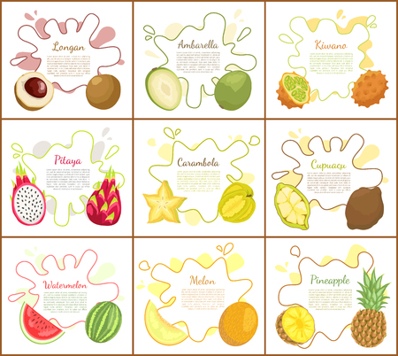 Longan and pitaya posters with text set. Carambola slice in form of star, ambarella and cupuacu, Pineapple and kiwano exotic product, lush meal vector Illustration