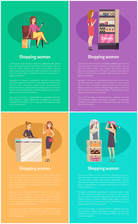 Shopping women in jewelry store poster vector. Lady relaxing on armchair with bags, mirror with reflection of lady wearing hat. Stand with cosmetics Stock Illustratie