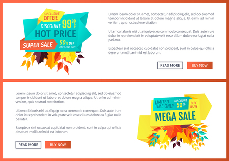 Hot price mega sale posters with text set. Super discount buy now limited time only. Autumn offer reduced prices special shopping proposals vector