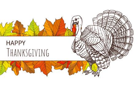 Affiche de Thanksgiving avec oiseau de dinde et feuilles d'automne. Carte de voeux de vacances américaines d'automne, animal traditionnel pour illustration vectorielle de repas festif. Vecteurs