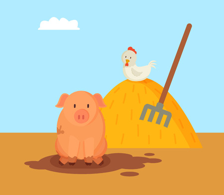 Pig and domestic hen on hay with rake. Animals breeding on farm by farmers. Mammal swine in dirt and chicken with white feathers vector illustration