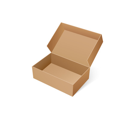 Open box for shoes storage. Empty container made of carton, brown pack for goods delivery, blank packaging parcel of rectangular shape vector isolated