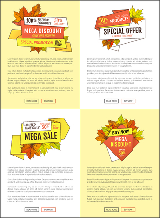 Fifty percent discount special sale offer. Promo price 159.90 advertisement autumn posters set with orange and yellow leaves, text sample and push buttons