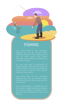 Fishing in evening poster. Fisherman with landing net and rod equipment catching perch fish haul on sunset back. Flyer with bordered text sample.  イラスト・ベクター素材