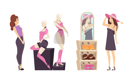 Shopping female shopaholic ladies isolated set vector. Girl trying hat and looking in mirror, woman observing underwear with admiration and surprise
