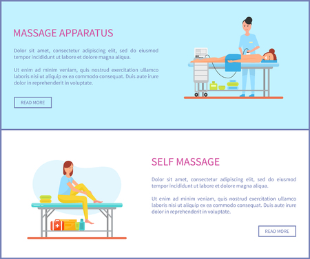 Massage apparatus special machinery for treatment vector. Posters set with text sample, massaging woman and male lying on table. Self care of female Ilustração