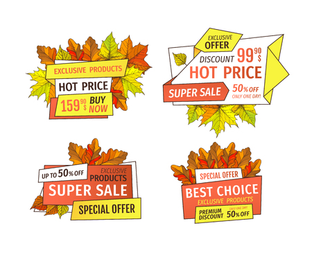 Sale super quality special offers labels set, up to 50 percent discount promo tags. Autumn half price advertising emblems, foliage and leaves vector