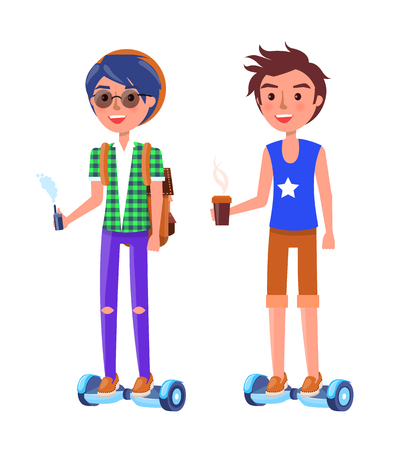 Boy and Girl Riding on hoverboard Personal Transporter Illustration