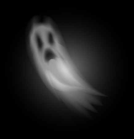 Ghost poltergeist creature halloween isolated icon vector. Scary mysterious spirit haunting people at night. Mystery of horror and spooky apparition Çizim