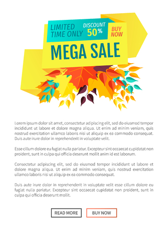 Mega sale offer discount poster with text sample and banner decorated with leaves. Fall autumn proposition clearance sellout proffer buy now vector Standard-Bild - 127116114