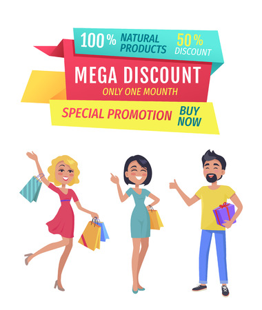 Exclusive product mega discount buy now promotion only one day. Smiling shopping clients with bags and presents wrapped in decorative paper vector Иллюстрация