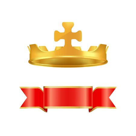 Ribbon and Crown with Cross Vector Illustration Illustration