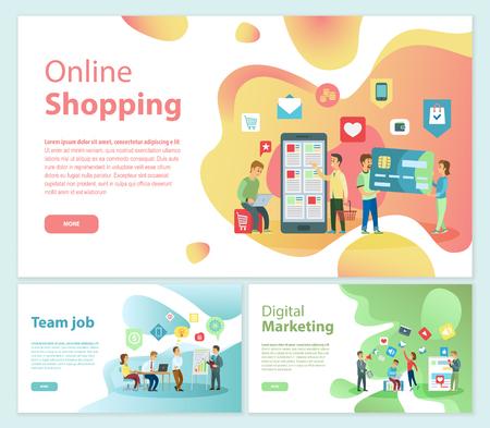 Online Shopping Team Job Posters Text Set Vector
