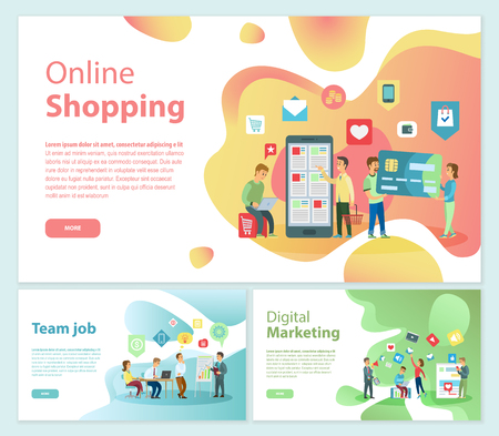 Online Shopping Team Job Posters Text Set Vector